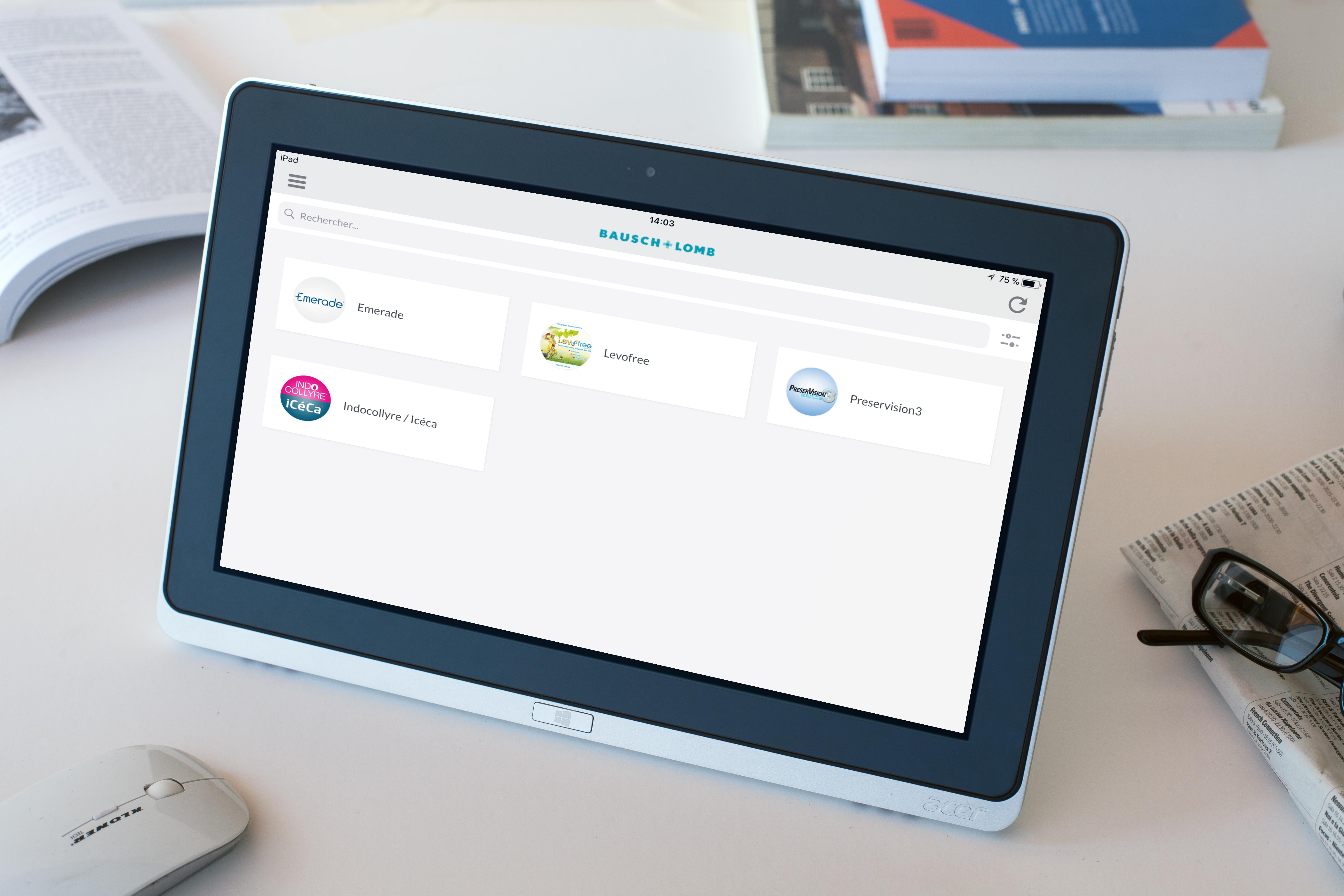 Aide à la vente numérique - Application dédiée - Bausch&Lomb
